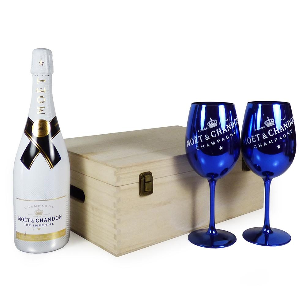 75cl Moet & Chandon Ice Imperial Champagne with 2 x Moet & Chandon Champagne Goblets in a Wooden Keepsake Gift Box