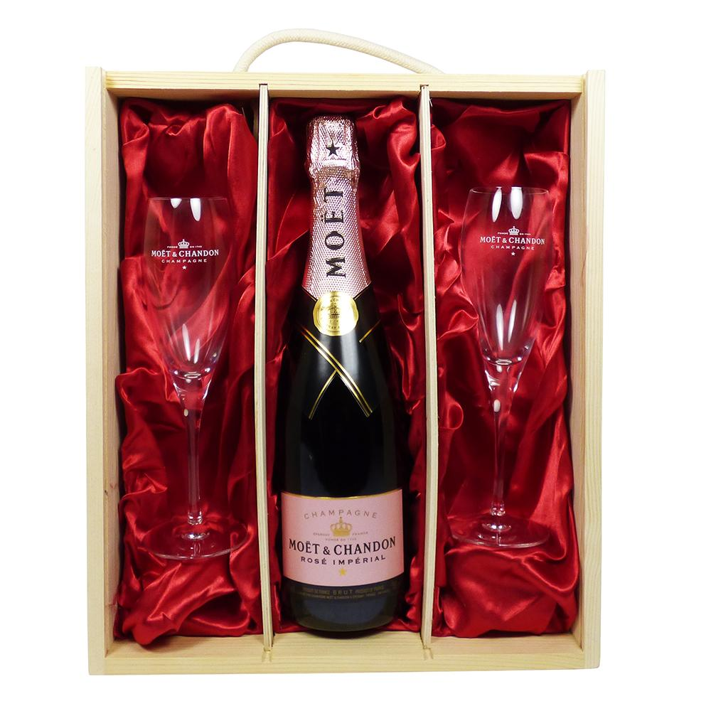 Moet et Chandon Rose Champagne with 2 x Moet Branded Champagne Flutes in a Wooden Presentation Gift Box
