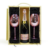 Moet et Chandon Rose Champagne with 2 Moet Branded Champagne Goblets in a Wooden Presentation Gift Box