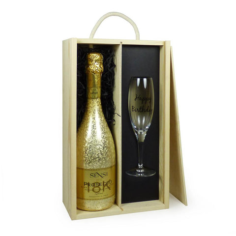 75cl Sensi Prosecco with Happy Birthday Glass Flute in a Wooden Presentation Box