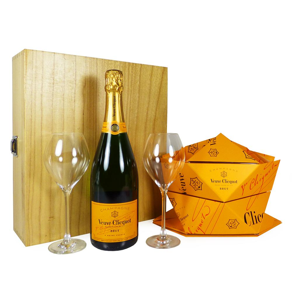 75cl Veuve Clicquot Brut Champagne With Branded Veuve Clicquot Glasses and Folding Ice Bucket Presented in a Wooden Gift Box