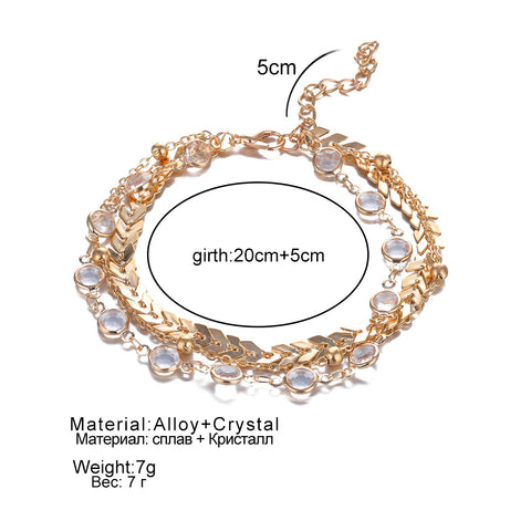 3Pcs/lot Crystal Sequins Anklet Set Beach Foot