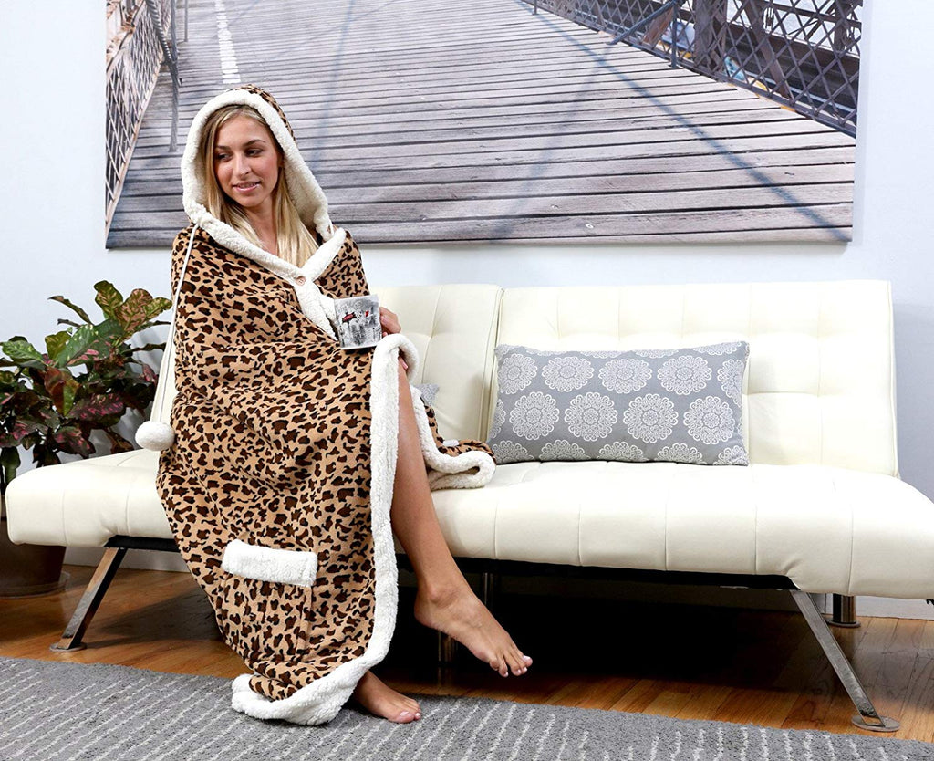 Ultra plush sherpa lined Snuggle up animal print hoodie wearable blanket