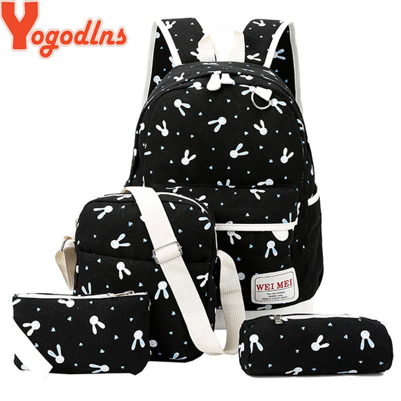 Women Rabbit Animals Travel Backpack School Shoulder Bag