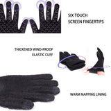 Winter Warm Bike Cycling Gloves Men Women Knit Anti-Slip