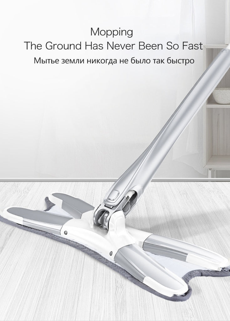 Hand-free wash flat mop Manual Extrusion Household Cleaning Tools