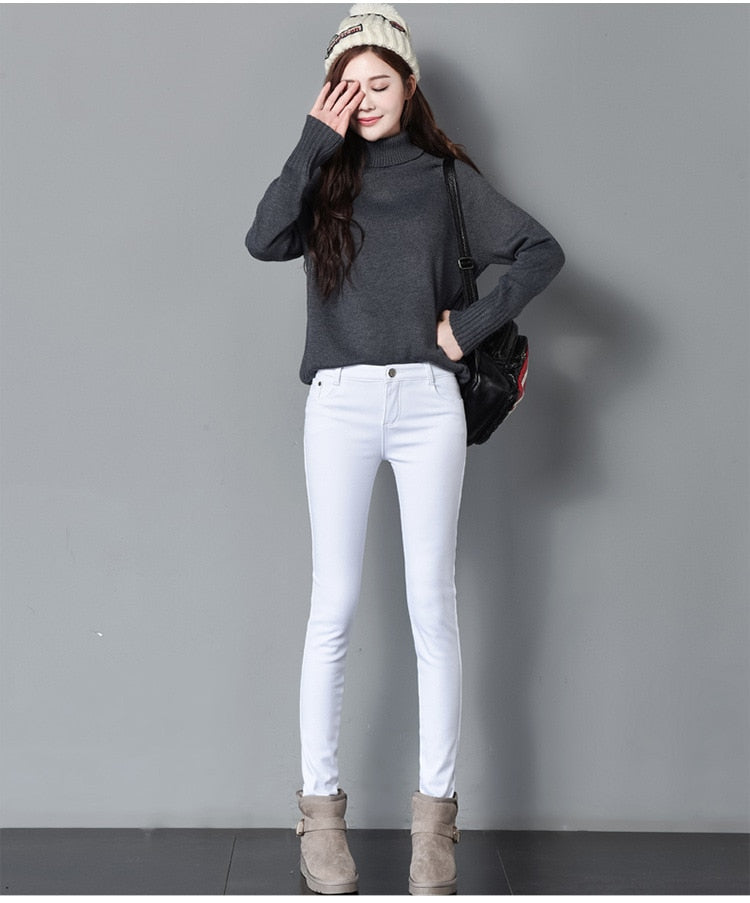 Thick Pencil Pants For Women Winter Warm Skinny
