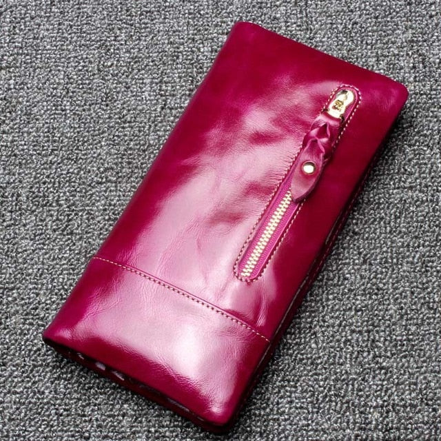 Women Long Purse 100% Real Cow Leather Coin Pocket