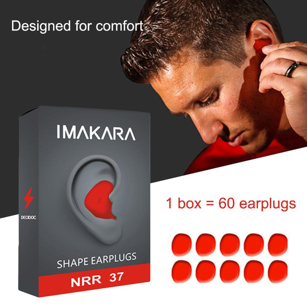 Moldable Shaped 60pcs/set PU Anti-noise Ear Plugs Noise