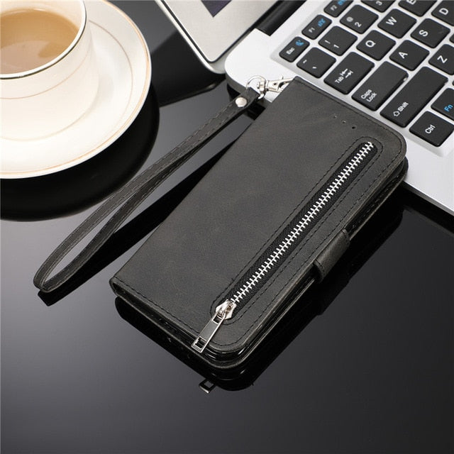 Leather Zipper Flip  Wallet Case For Samaung Galaxy S10 E S9 S8 Plus S7 Edge Note 8 9 10