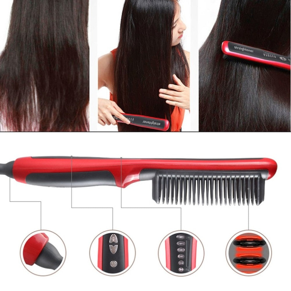 Durable Electric Straight Hair Comb Brush LCD Heated Ceramic