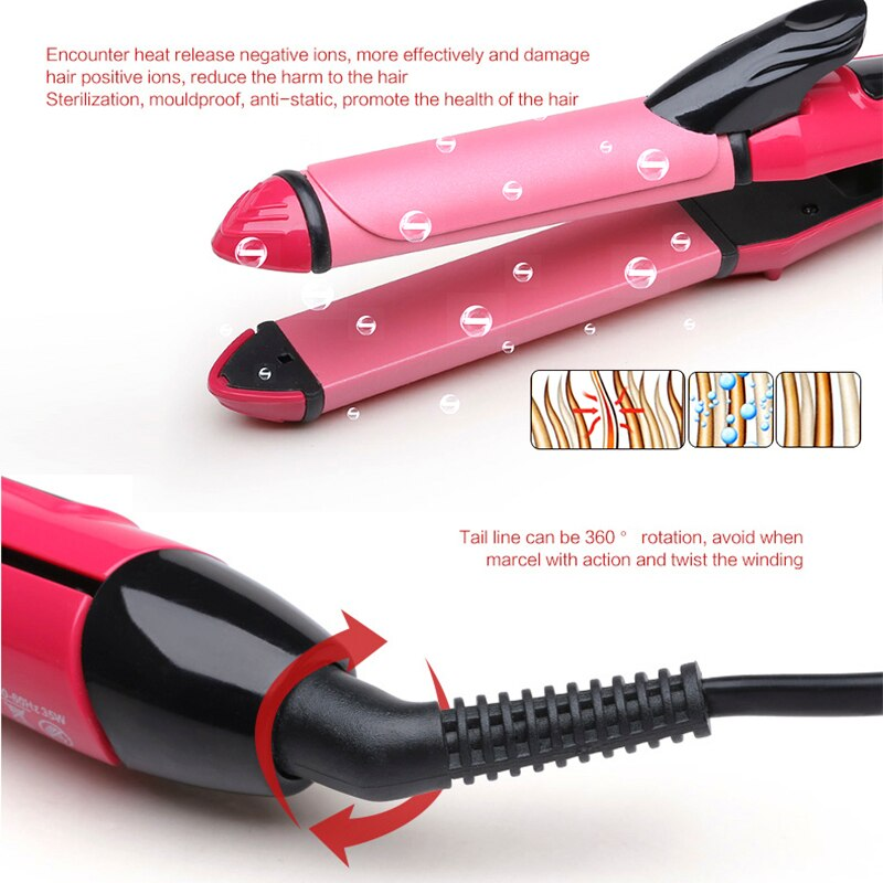 2 in 1 Hair Straightener Curler Ceramic Flat Iron Hair Curling