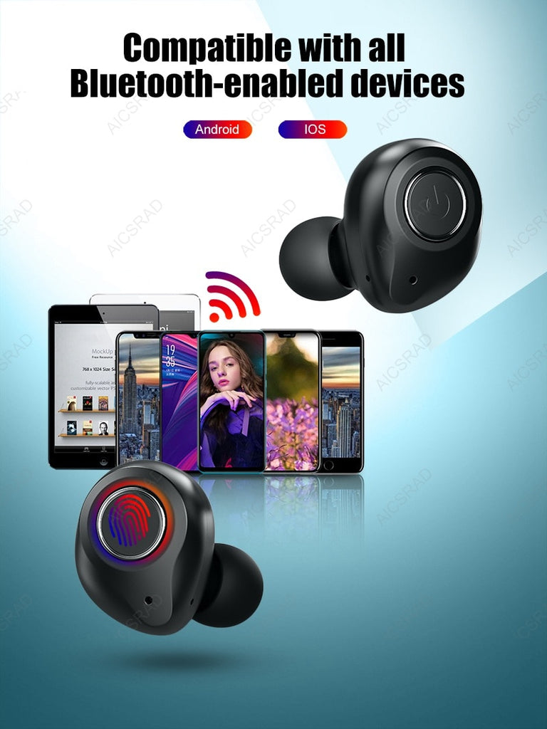 rue Wireless Earphones Bluetooth 5.0 In Ear Earbuds with Mic Charging Box Sport Headset