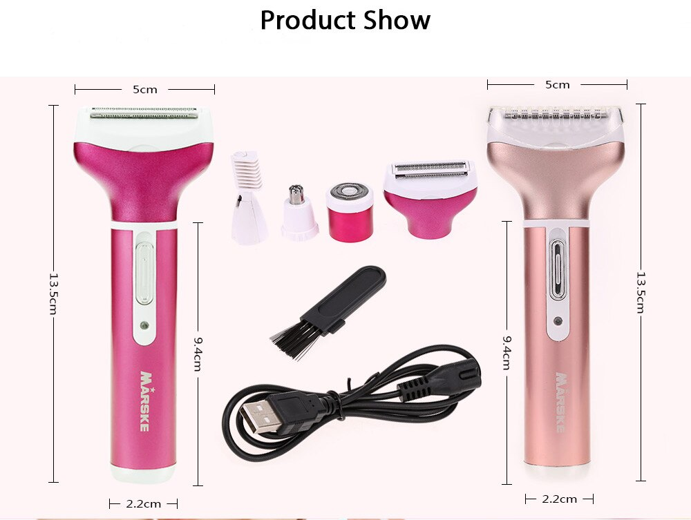 4 In 1 Rechargeable USB Epilator Hair Removal Nose Beard