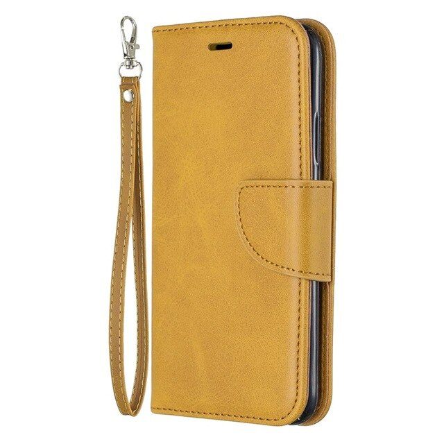 Solid Imitation Lambskin Leather Case Flip Wallet Phone Cover