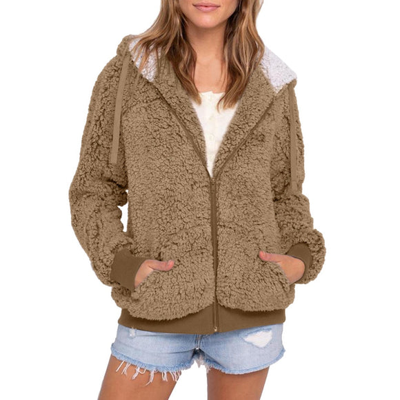 Women Hooded Cardigans Loose Knit Long Sweater Coat Autumn Winter