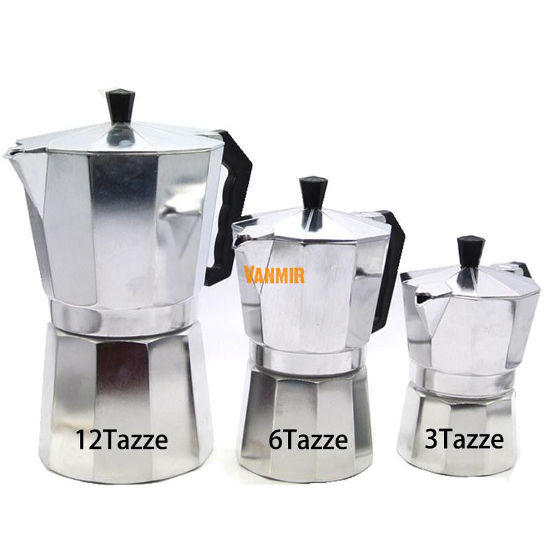 Moka Espresso Coffee Maker Machine Aluminum 1cup/3cup/6cup/9cup/12cup Italian Stove