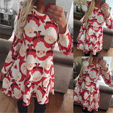 Santa Claus dress o-neck casual New year dress for Christmas Women Dresses