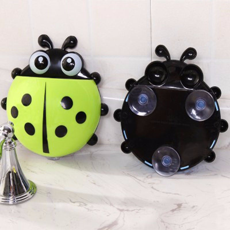 Cute Ladybug Insect Toothbrush Wall Suction Bathroom Sets