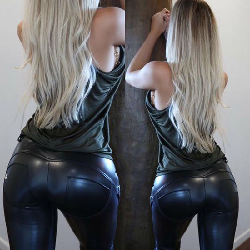 Women PU Leather Trousers Stretchy Push Up Pencil Pants Skinny Tight