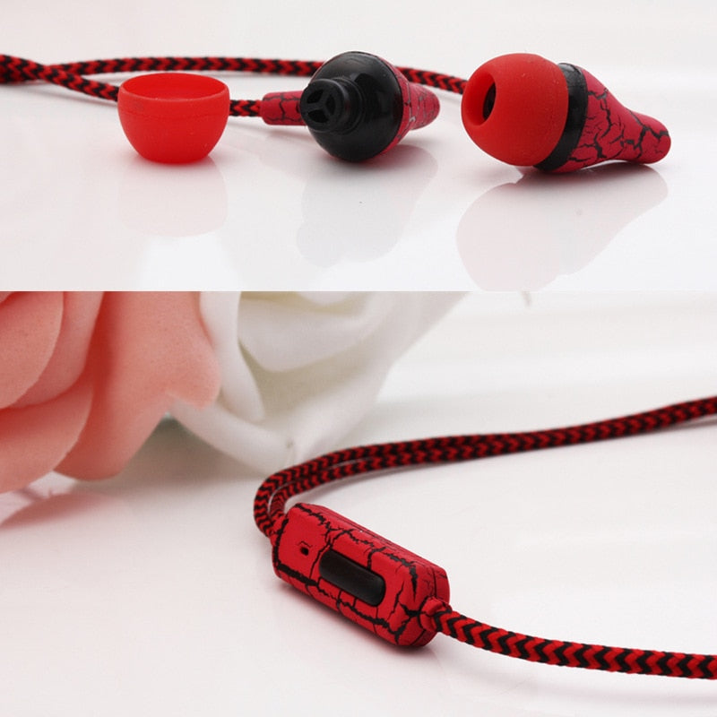 Crack Earphone Earbud with Microphone Hands Free Headset