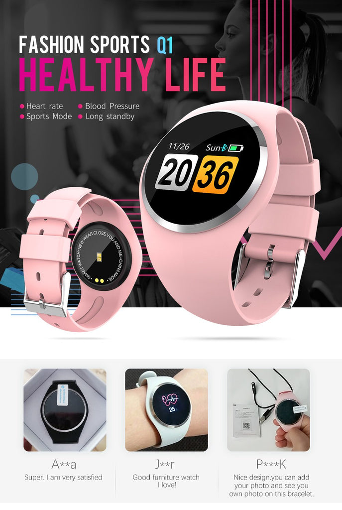 Smart Wristband Color LCD Screen Blood Pressure Heart Rate Monitor