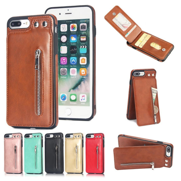 Multi Card Holders Case Cover For iPhone Zipper Wallet Shell