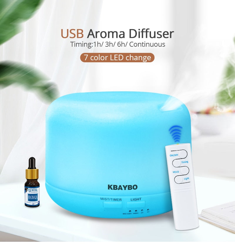 USB Remote Control Ultrasonic Air Aroma Humidifier 7 Color LED