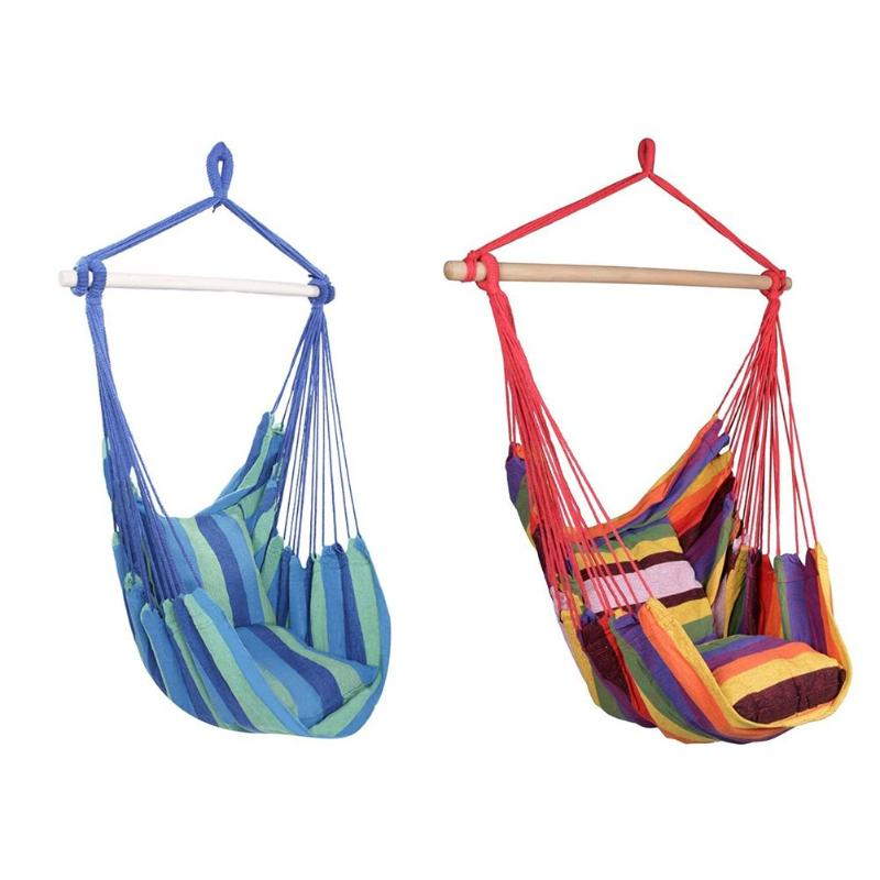 Hammock Chair Hanging Chair With 2 Pillows for Outdoor