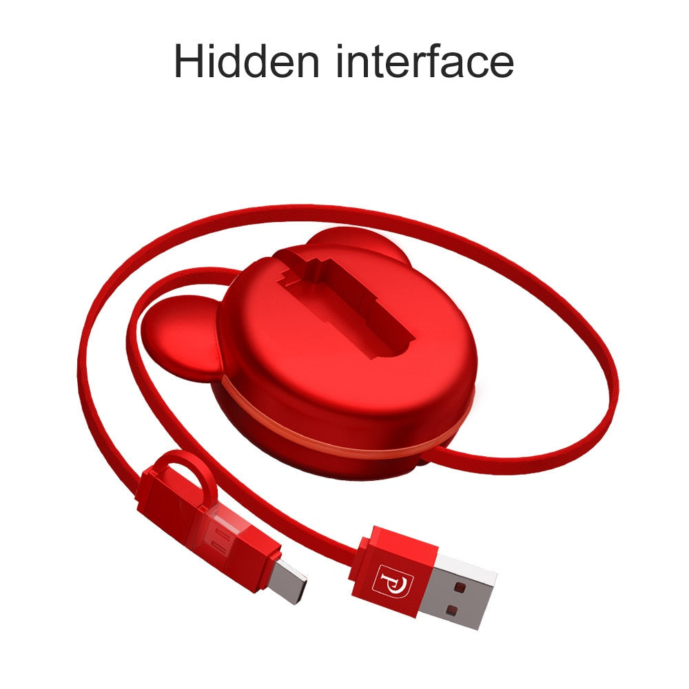 2in1 Retractable USB Cable for Samsung Xiaomi and Type C Port + Android Micro USB