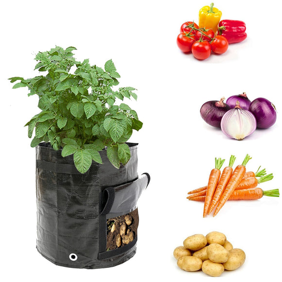 Black Potato Growing Bags With Handles UV Protection Reusable
