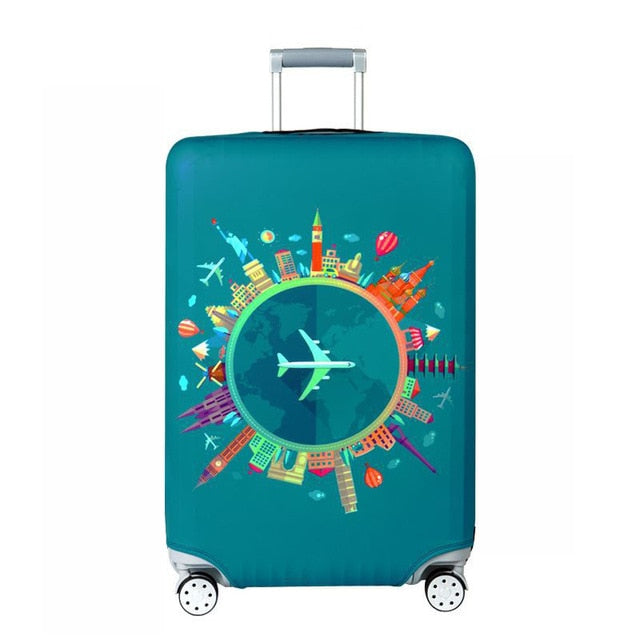 World Map Design Luggage Protective Cover Travel Suitcase