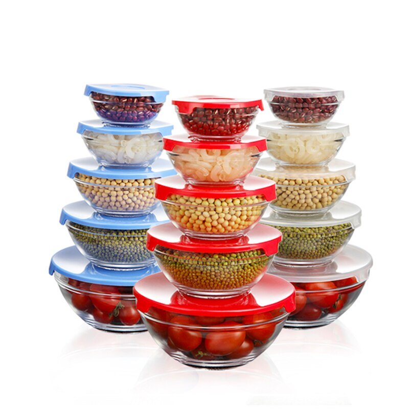 Kitchen Food Container Glass Storage With Plastic Lid