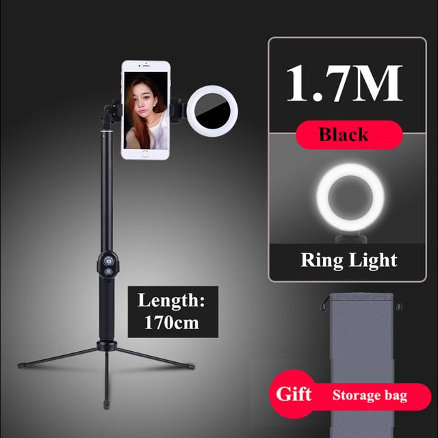 Tripod LED Selfie Stick 1.7m Extendable live Ring light