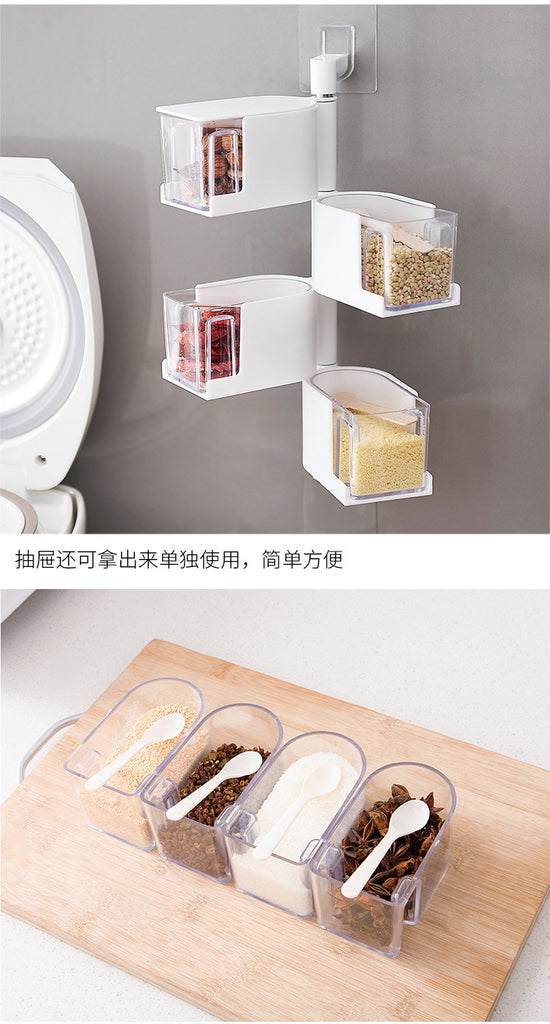 Wall Hanging Seasoning Box with Spoon Dressing Box
