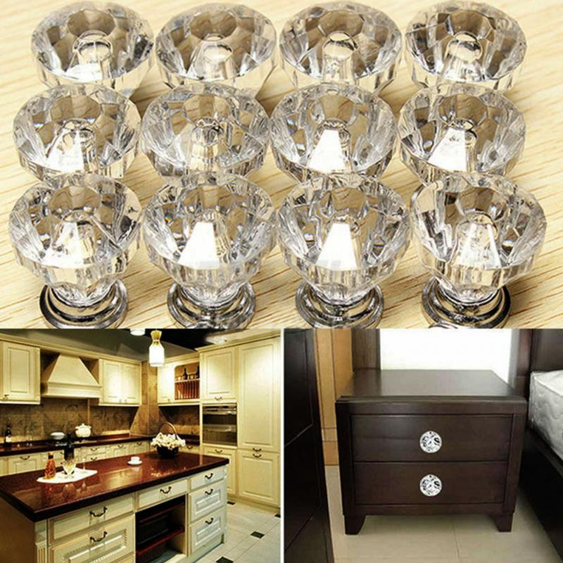 Diamond Shape Design Crystal Glass Knobs Cupboard