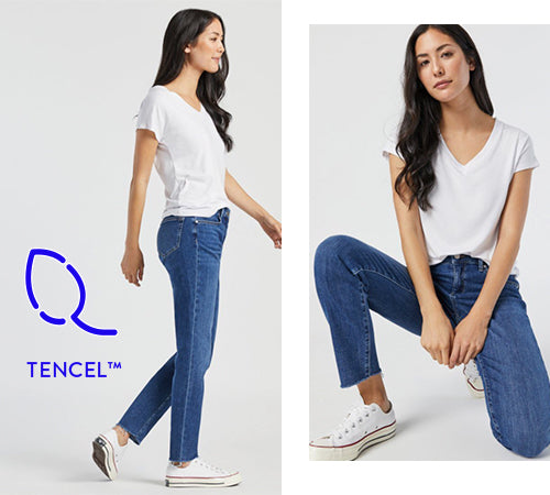 Ada Boyfriend Jeans in Mid Brushed Feather Blue
