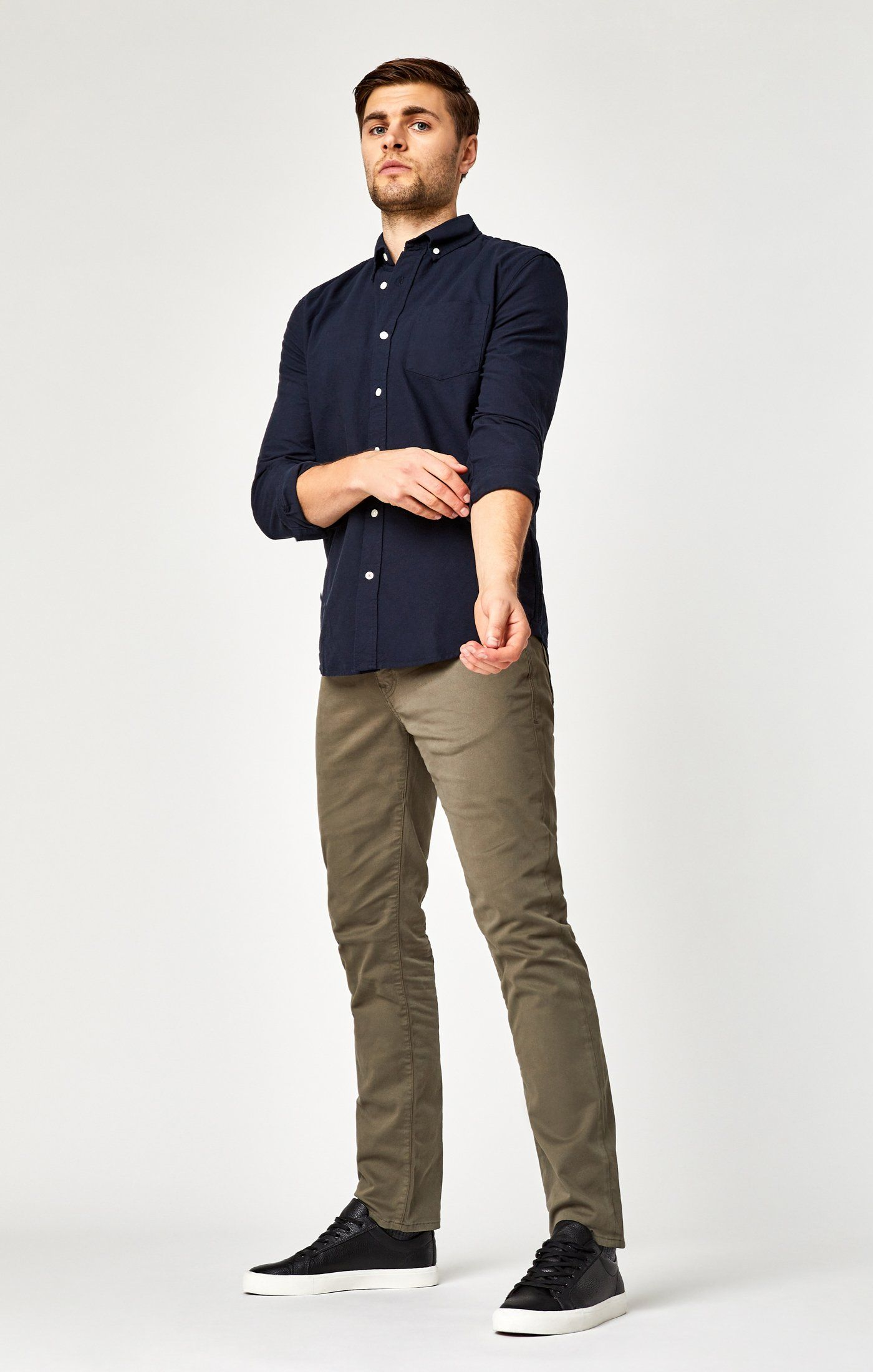 MARCUS SLIM STRAIGHT LEG IN DUSTY OLIVE TWILL Image 1