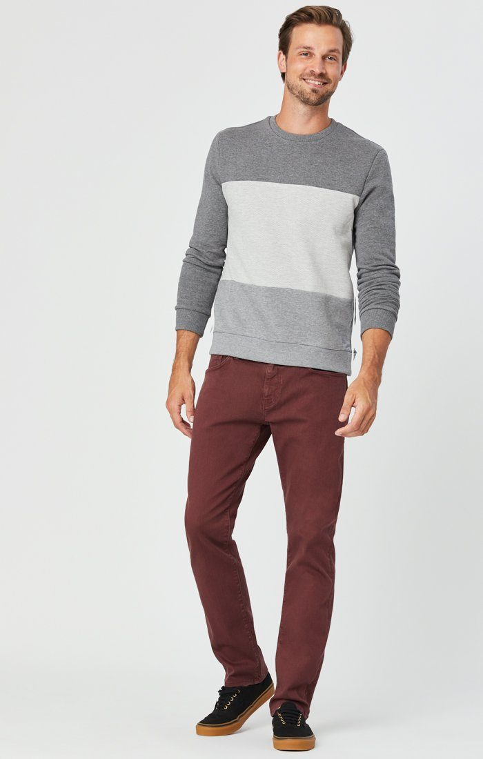 MARCUS SLIM STRAIGHT LEG JEANS IN BURGUNDY COMFORT Image 2