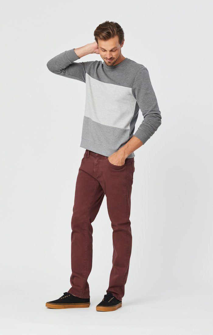 MARCUS SLIM STRAIGHT LEG JEANS IN BURGUNDY COMFORT Image 3