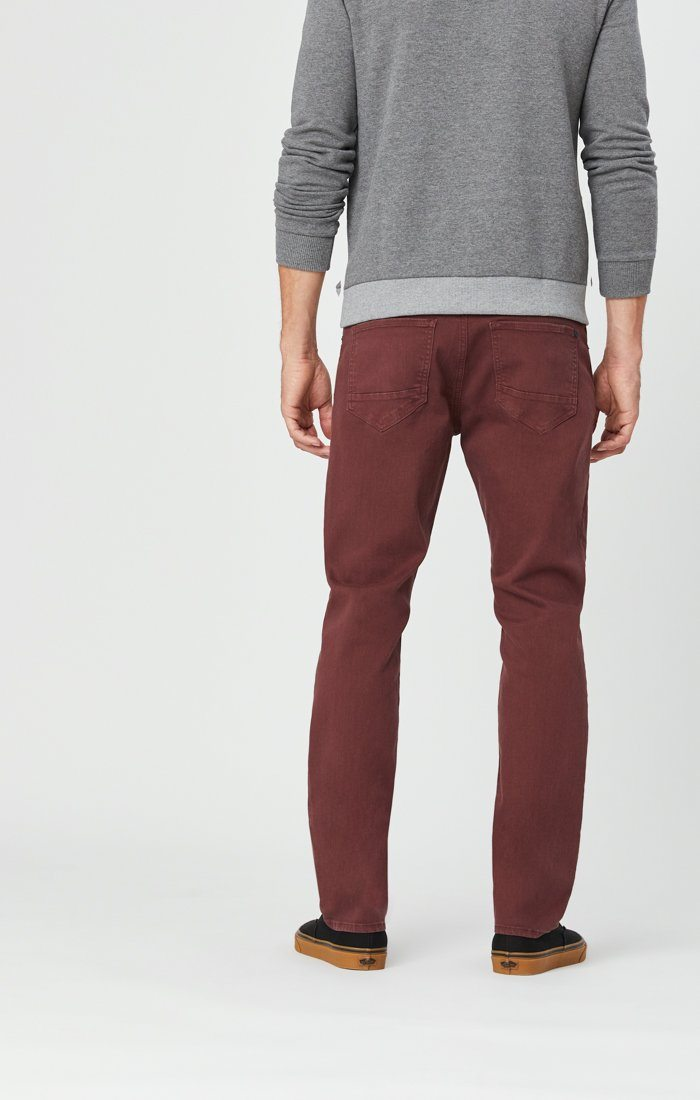 MARCUS SLIM STRAIGHT LEG JEANS IN BURGUNDY COMFORT Image 4
