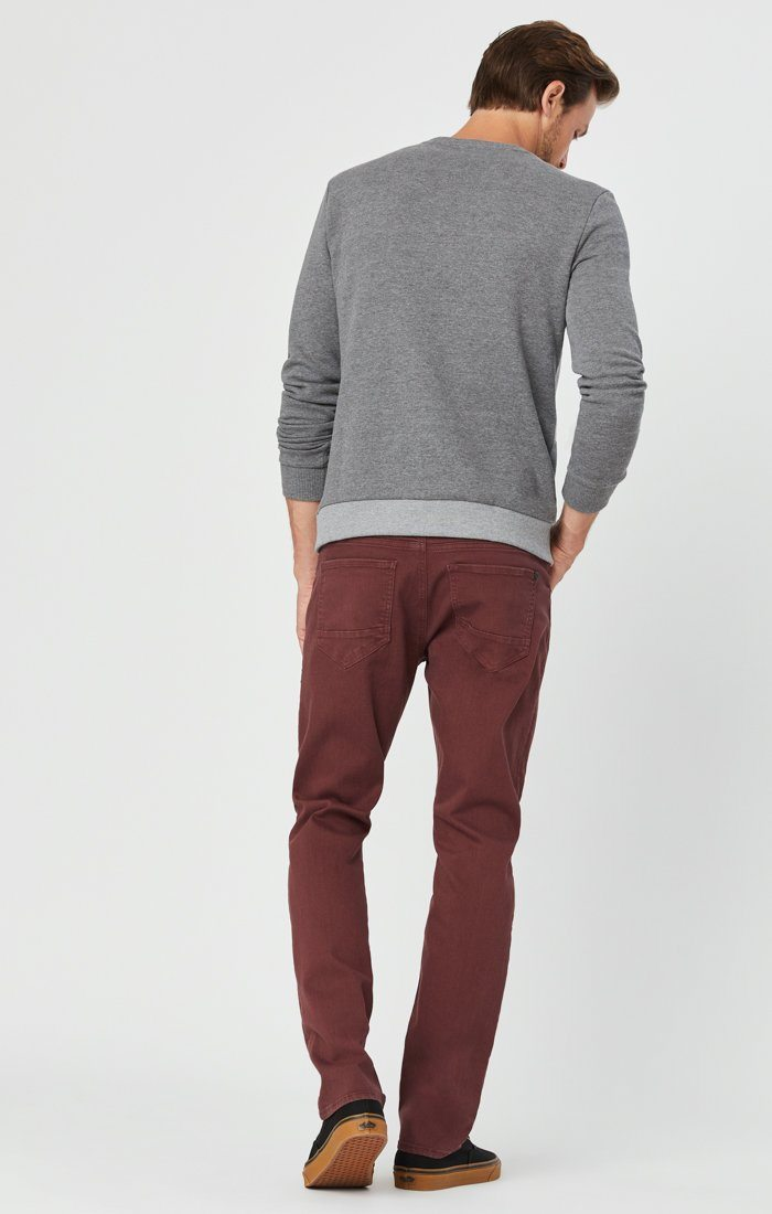 MARCUS SLIM STRAIGHT LEG JEANS IN BURGUNDY COMFORT Image 5