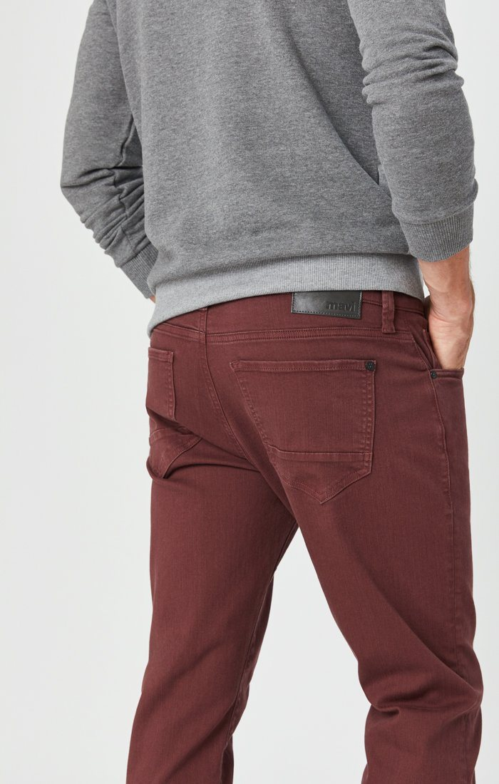 MARCUS SLIM STRAIGHT LEG JEANS IN BURGUNDY COMFORT Image 1