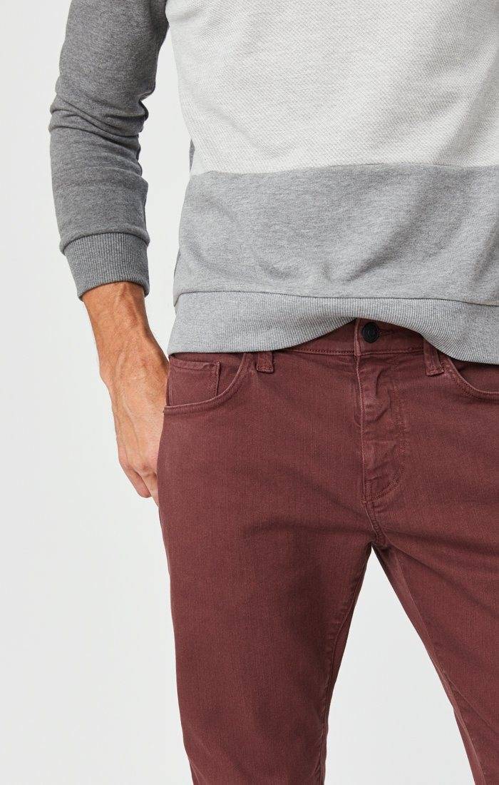 MARCUS SLIM STRAIGHT LEG JEANS IN BURGUNDY COMFORT Image 6