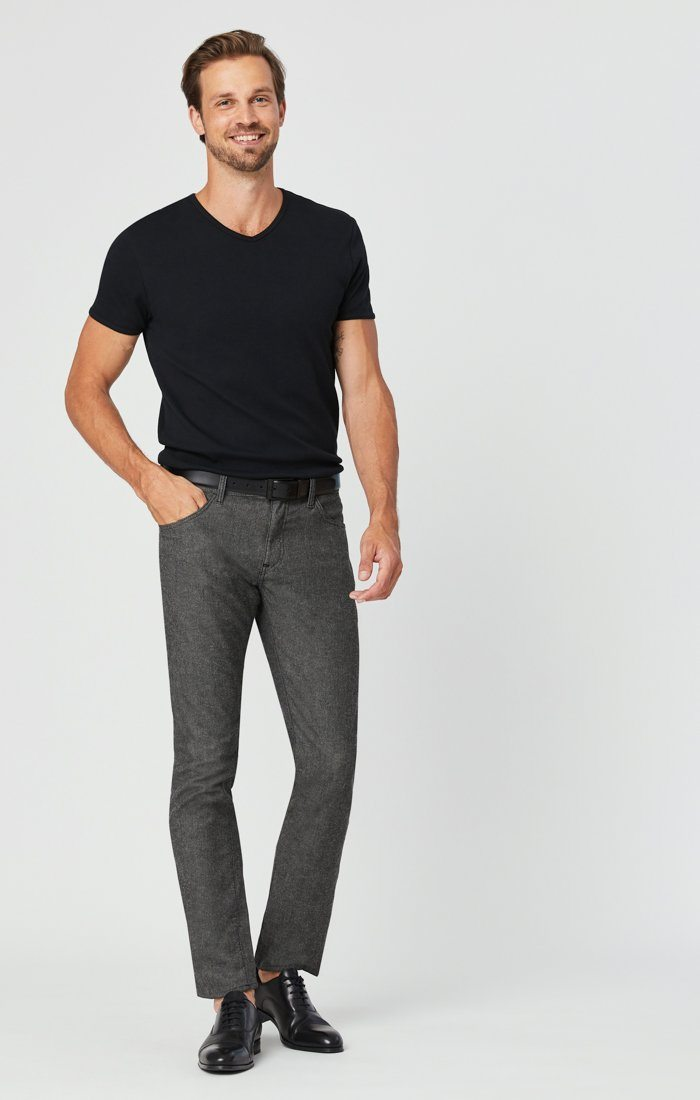 JAKE SLIM LEG PANTS IN BLACK MELANGE FEATHER TWEED Image 1