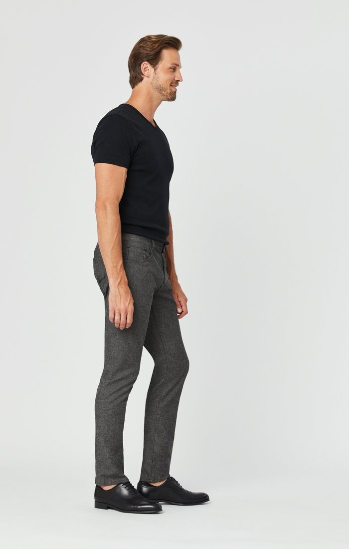 JAKE SLIM LEG PANTS IN BLACK MELANGE FEATHER TWEED Image 3