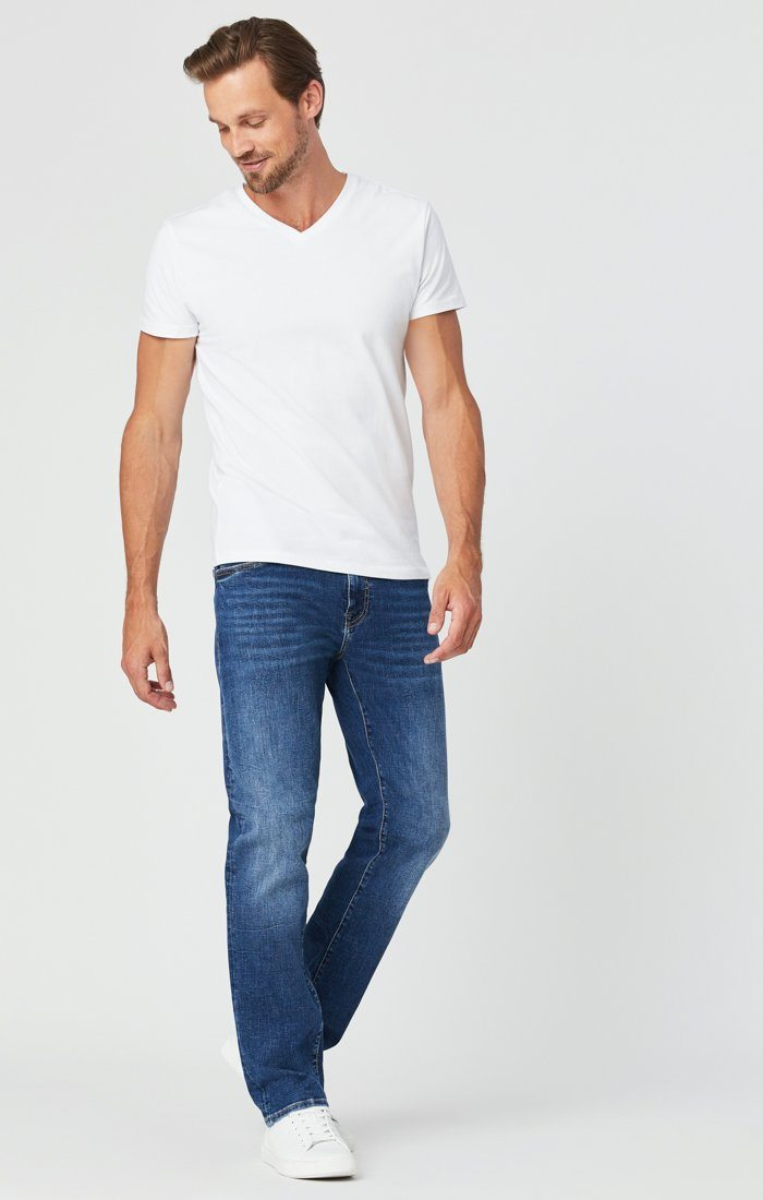 ZACH STRAIGHT LEG JEANS IN MID BLUE ORGANIC MOVE Image 1