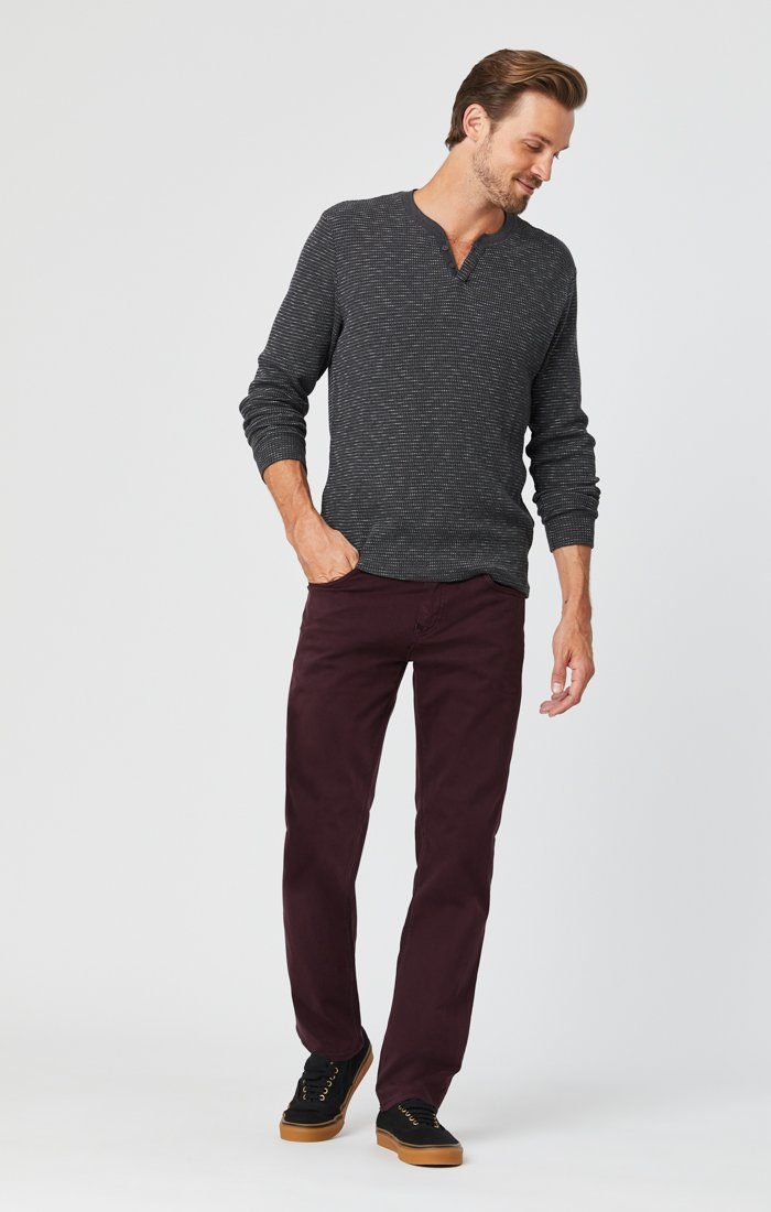 ZACH STRAIGHT LEG PANTS IN BURGUNDY SATEEN Image 1