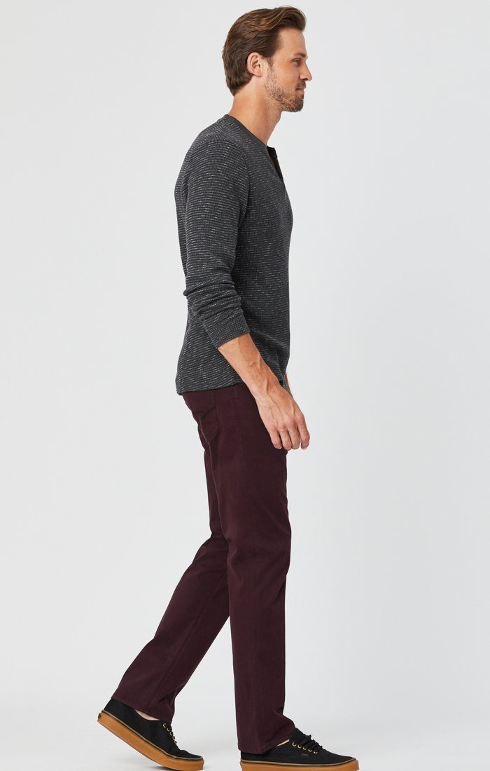 ZACH STRAIGHT LEG PANTS IN BURGUNDY SATEEN Image 2