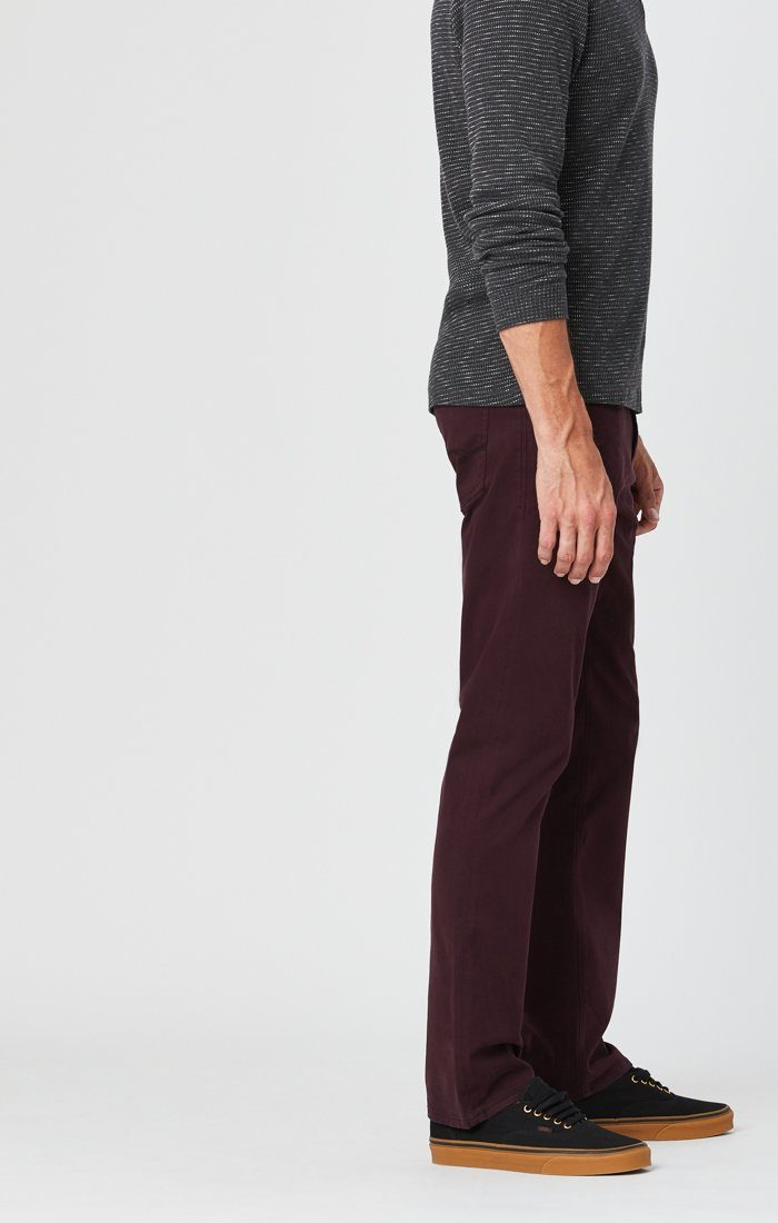 ZACH STRAIGHT LEG PANTS IN BURGUNDY SATEEN Image 3